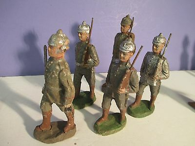 Vintage Elastolin Lineol WWI (5) Marching GERMAN SOLDIERS LOT - Composition 4""