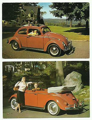 Pair 1960 Volkswagen Beetle Advertising Postcards Convertible & Sunroof VW Bugs