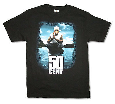 """Fifty Cent! 50 Cent In Water Black T-Shirt 2Xl Xxl New Official """"shore"""""""