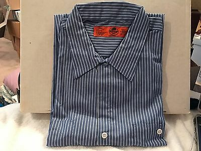 Red Kap Long Sleeve Industrial Work Shirt BLUE WHITE STRIPES Size 3XL NEW