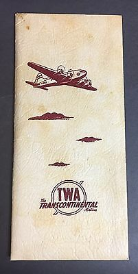 Early 1940's TWA Seat Information Packet. 1941 Timetable + 7 More Items