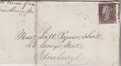 1847 QV GLASGOW WRAPPER WITH 3 MARGIN 1d RED IMPERF STAMP MAILED TO EDINDBURGH