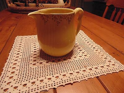 Halls Superior Quality Kitchenware --- Pitcher--- Yellow With Gold Leaf Trim