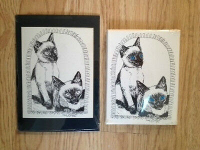 Siamese Cats 2Pc Set- 6 Blank Notecards with Envelopes and Small Print 5 x 7 New