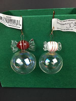 Dept 56 Set of 24 Mini Glass Peppermint Ball Candy Christmas Ornaments Red White