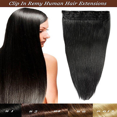 AU Clip in Remy Human Hair Extensions One Piece #1 Black Real 80-100Grams Thick
