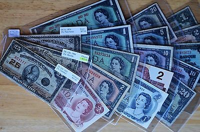 18 Ass't  Canadian  Banknotes  1870  -  1986