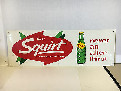 "Squirt sign 1965 NM metal embossed sign high grade original vintage 27"" by 9.5"""