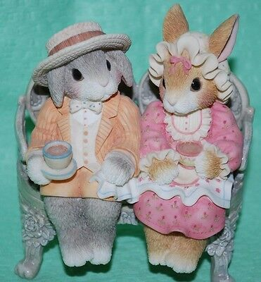 "My Blushing Bunnies Enesco ""Tea For You and Me - For you"" Rabbits Bench Easter"