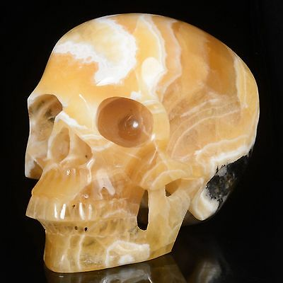 """5.98""""Natural Yellow Calcite Hand Carved Smiling Skull,Collectibles #22S73"""