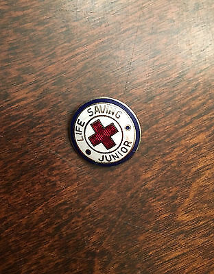 K7) Vintage American Red Cross Life Saving Junior Red White Blue Button Pin