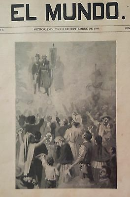 Broadside 1896 Mexican Independence engraving  Martinez Carrion MIGUEL HIDALGO
