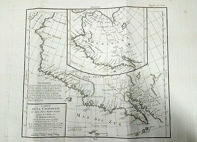 Large Antique Map of California SW America 1772 Carte de la Californie Vaugondy