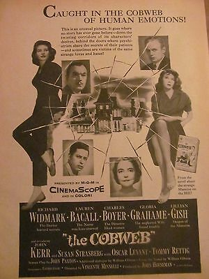 The Cobweb, Lauren Bacall, Gloria Grahame, Full Page Vintage Promotional Ad