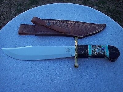 Case Xx * Custom Brian Yellowhorse Bull Rider Bowie With Sheath Knife Knives
