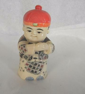 "Vintage 5"" Hand Painted Japanese Netsuke Boy Figure Excellent"