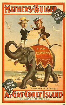 Vaudeville Comedy Theater Ad Poster Gay Coney Island Elephant Motif Print 557