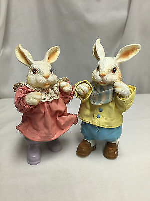 Boy And Girl Bunny Rabbit Figures - Clothique By Possible Dreams 1989 Taiwan