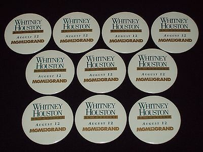 Whitney Houston Bodyguard World Tour Concert Promo Pin-Back Buttons 10X MGMGrand