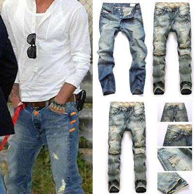 Men's Denim Jeans Ripped Frayed Destroyed Jeans Casual Skinny Holesdenim Pants