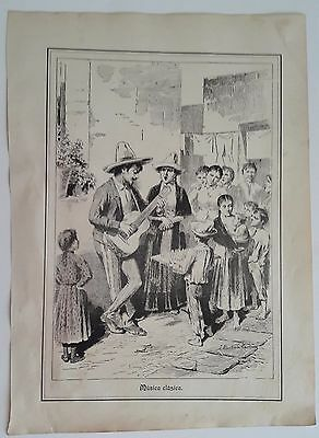 Broadside 1896 Mexican engraving  by Martinez Carrion MUSICA CLASICA