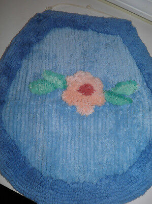 Vintage Blue Chenille Toilet Lid Seat Cover With Pink Floral Motif