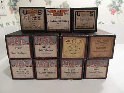 Lot of 11 Vintage Player Piano Rolls Word Roll in Boxes QRS, Melodee, US, A-R