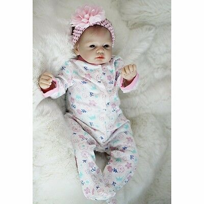 "Real Newborn 22"" Handmade Lifelike Baby Doll Reborn Silicone Vinyl Full Body CL"