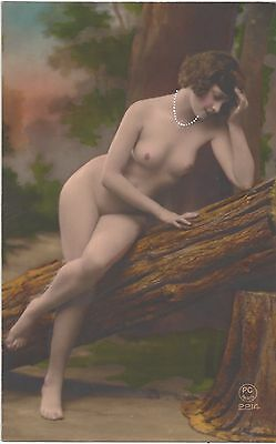 1920 French NUDE Photograph - Hand Painted Slim, Youthful Beauty