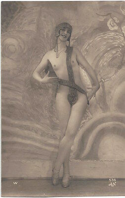 1920 French NUDE Photograph Gorgeos Art Deco Flapper, Tall, Thin, Small Breasts