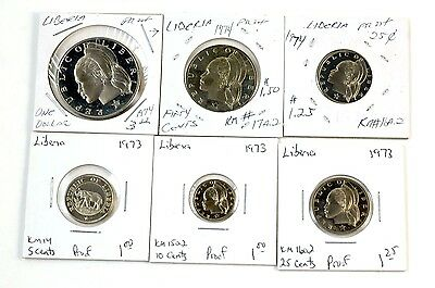 1973 & 1974 Liberia Proof Coins Lot of 6