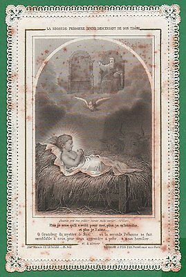 GOD THE FATHER, CHILD JESUS IN MANGER Antiq 19th Cent 1889 LACE HOLY CARD