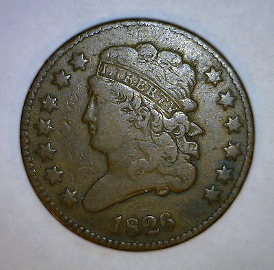 1826 HALF CENT  FINE + US Copper Coin 1/2 Penny ORIGINAL F #4 MAKE AN OFFER