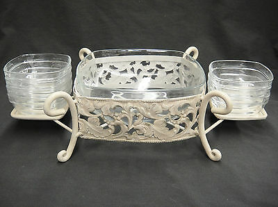 Duralex Glass Snack Salad Set 1 Large & 7 Small Bowls in Metal Iron Stand France