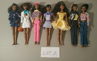 Black BARBIE DOLLS African American AA dressed w CLOTHES 7 DOLL LOT vguc