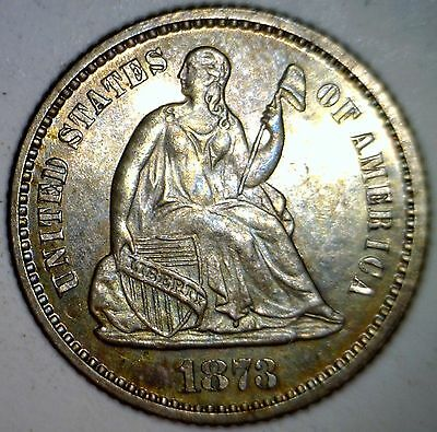 1873 CH / GEM PROOF Seated Half Dime Coin Rare low mintage 100% ORIGINAL Coin #2