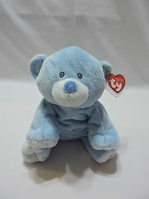 "Ty Pluffies Baby Woods Bear Blue 9"" Plush Sewn Eyes TyLux Original Tags"