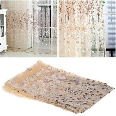 Home Floral Tulle Sheer Voile 100x200 Door Window Curtain Drape Panel Decoration