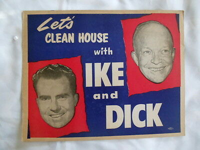 Eisenhower & Nixon Jugate Poster 14 x 11 Let's Clean House Ike & Dick AUTHENTIC