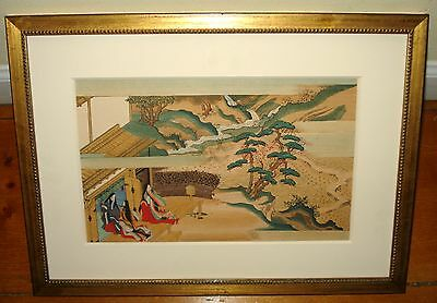 """Tosa Mitsuoki  17th c. """"The Tale of Genji""""  Japanese Color Woodblock Print"""