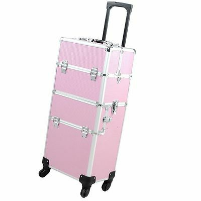 2in1/4in1 Rolling Aluminum Makeup Case Wheeled Artist Cosmetic Organizer Box Opt