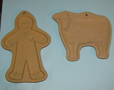 Brown Bag Cookie Art 1986 Cow and 1989 Gingerbread Man Press Stamp Mold VTG EUC