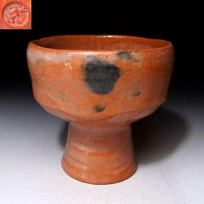 LC9 Japanese Tea Bowl with Long foot, Raku Ware by Famous potter, Shoraku Sasaki