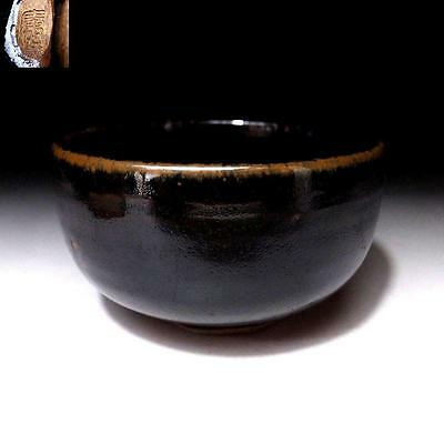 LC6: Vintage Japanese Tea Bowl, Seto ware, Brown & black tenmoku glazes