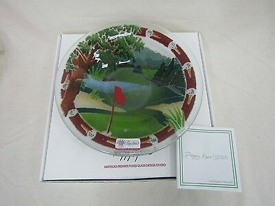 """Peggy Karr Glass Inc. 8.5"""" Golf Course Bowl Hand Made in USA"""