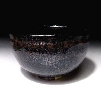 LN6: Japanese Tea Bowl, Seto ware, Oil drop pattern glaze, Yuteki Tenmoku glaze