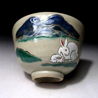 LN5: Japanese Tea Bowl, Banko ware by Famous potter, Kenzan Kinoshita, Rabbit