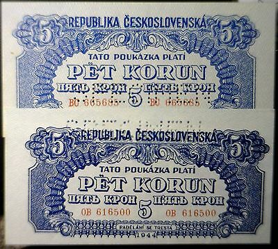 1944 PAIR of 1944 Czechoslovakia SPECIMEN CU Czech Rep. Bank Note LOT of 2 Notes