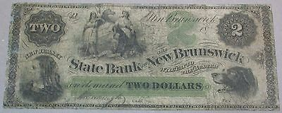 1800 s $2 Dollar OBSOLETE The State Bank New Brunswick NEW JERSEY Money Currency