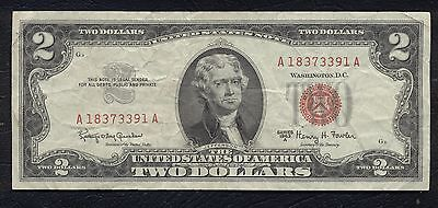 1963 $2 Dollar Bill United States Note Legal Tender Paper Money Red Seal